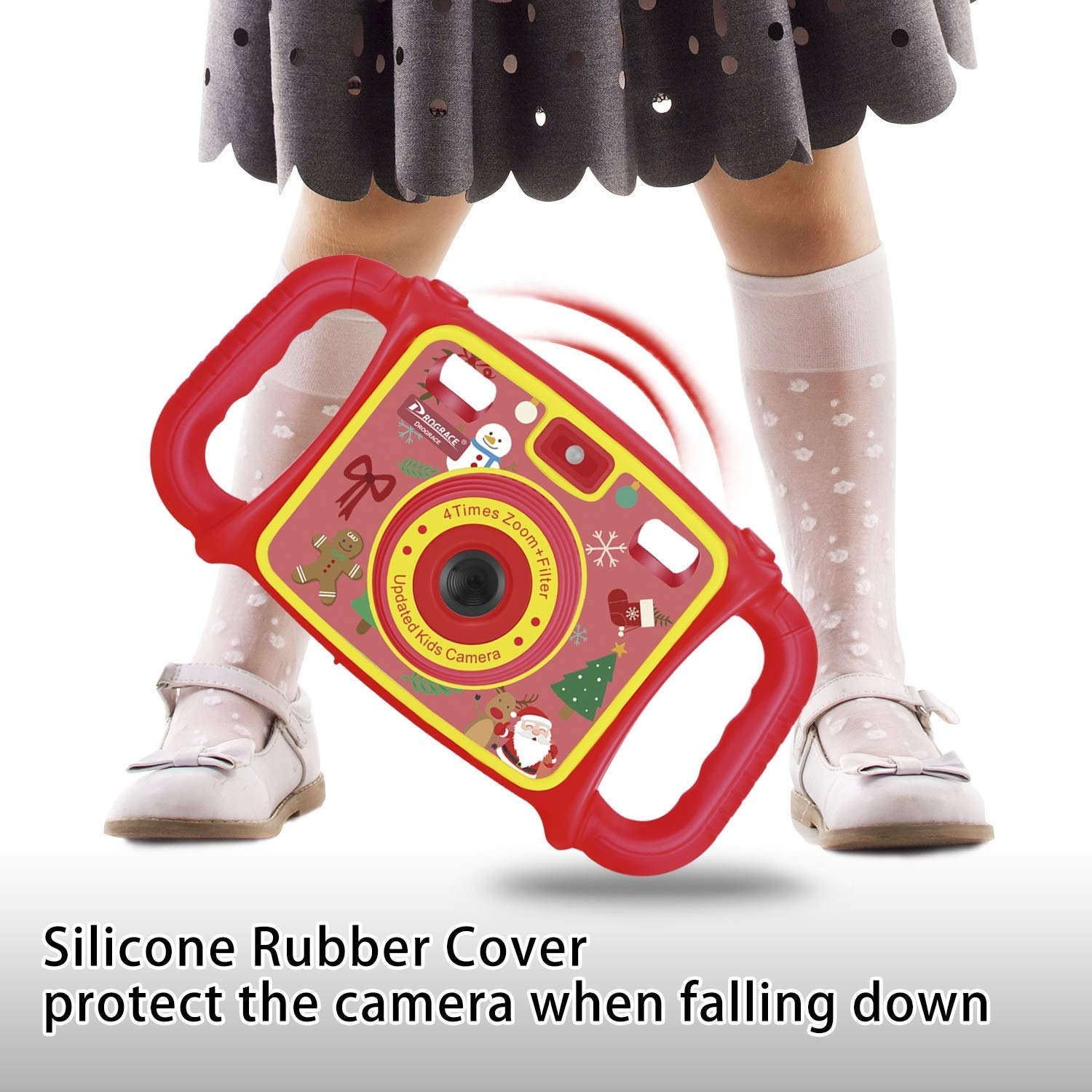 Prograce Kids Camera Dual Camera Selfie Digital Video Camera Camcorder for Boys Girls with 4X Digital Zoom, Flash Light and Funny Game(Red) by Prograce (Image #7)
