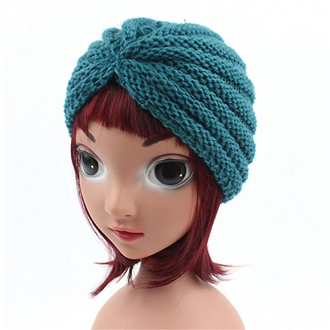 d62eb939c35 Amazon.com  Qhome Winter Kids Handmade Beanie Head Cover Up Hat Knit Turban  for Children  Clothing