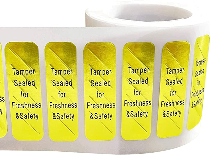 Gold Tamper-Evident Food Sealed for Freshness and Safety Stickers 0.5 x 1.5 Inch - 500 Tamper-Resistant Stickers Food Delivery Tamper Evident Labels Sealed for Freshness Stickers