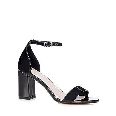 77cb9cdc5 Faith Womens Black Patent 'Demi' Mid Heel Wide Fit Ankle Strap Sandals 7