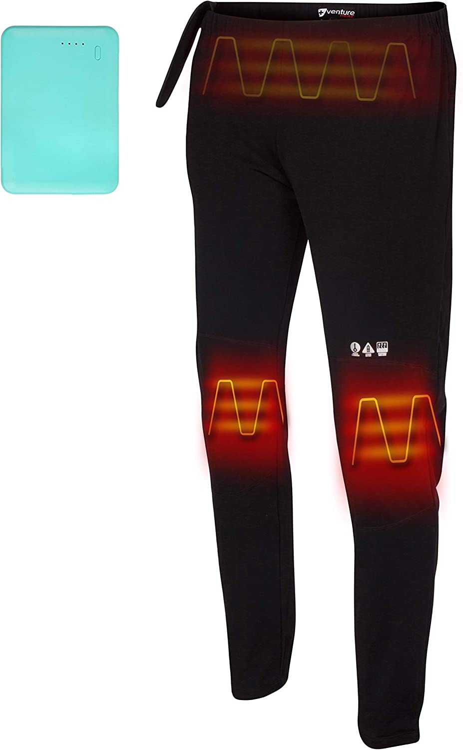 Venture Heat Heated Pants with Battery Pack - Electric Base Layer Sweats Long John for Men Women, Rechargeable, Quest