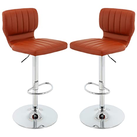 Awe Inspiring Brage Living Pu Adjustable Height Barstool With Chrome Base And Footrest Set Of 2 Brick Pdpeps Interior Chair Design Pdpepsorg