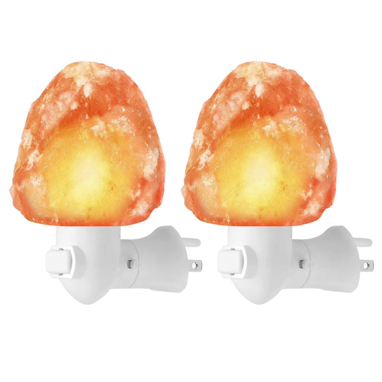 Natural Himalayan Salt Lamp Night Light Plug in, Kohree 2 Pack Mini Pink Salt Rock Lamp Wall Light