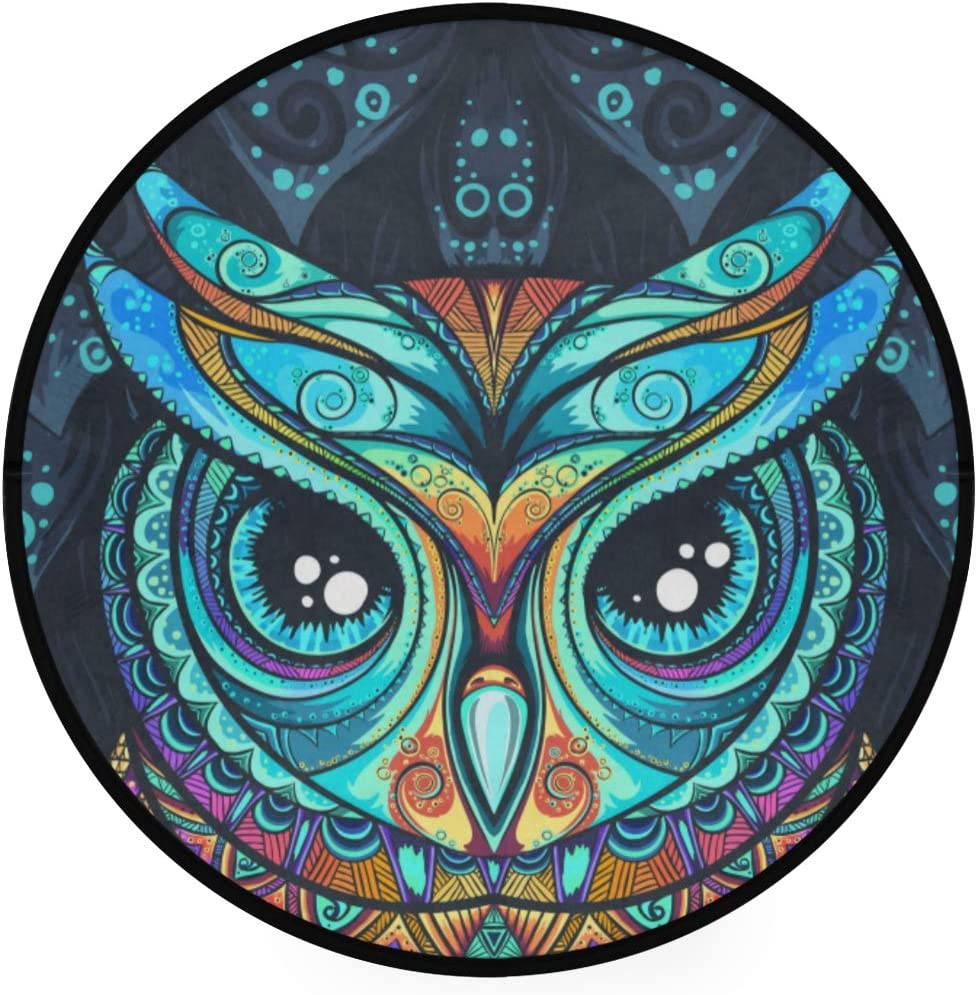 Minalo Super Soft Light Round Area Rug,Owl with Tribal Ornament,Circle Carpet 5 Diameter