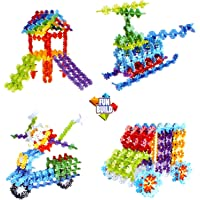 Planet of Toys Building Block for Kids Snowflake Shape Blocks Toys for Children Game Play, Educational Toy - Multicolor (180 Pcs)