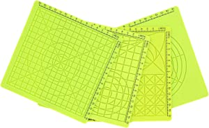 4pcs 3D Printing Pen Silicone Pad Drawing Board For 3D Printing Pen Silicone Pad With Finger Caps Grids Design Green with 8 Finger Caps 170mm / 6.7in