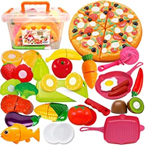 FUNERICA Play Kitchen Cutting Food Toys for Kids - 43-Piece Pretend Cutting Play Food Set with Play Fruits, Vegetables, Poultry and Fish, Play Kitchen Accessories, and Cutting Pizza