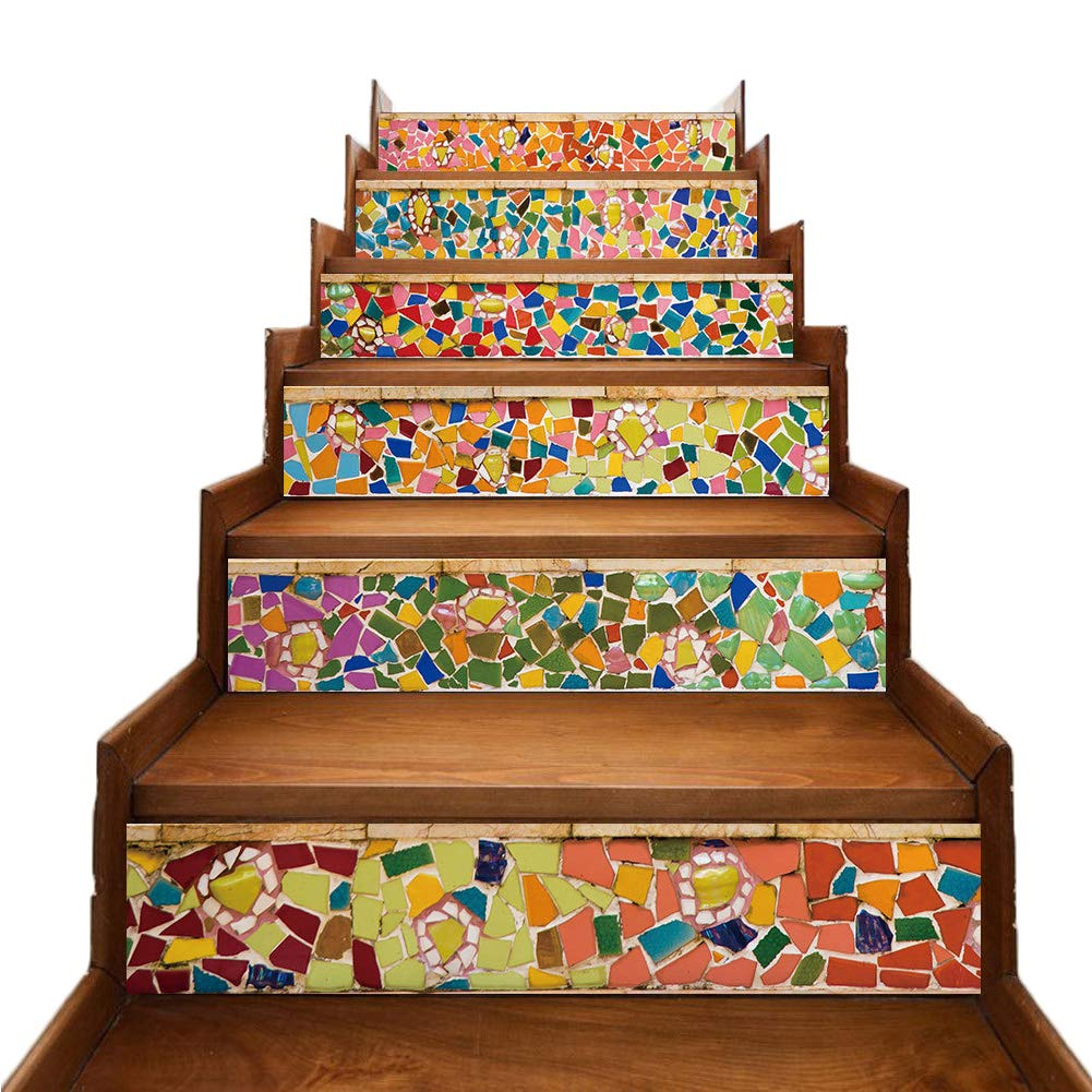 Beautifulive 3D Colorful Tile Stair Sitckers for Kitchen Bathroom, 6PCS Self-Adhesive Waterproof Staircase Riser Wallpaper Backsplash Stariway Decals Home Decor
