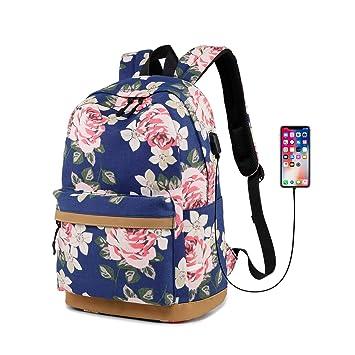 Gudelaa Bolso de la Mochila del patrón de Flores de Tela Chica Mochila del Estudiante con Interfaz USB Mochila Informal Azul: Amazon.es: Hogar