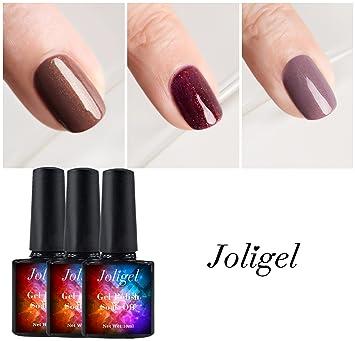 Joligel Kit 3 Esmaltes Permanentes Semipermanentes Uñas Gel UV LED Manicura, Rojo Borgoña + Marrón