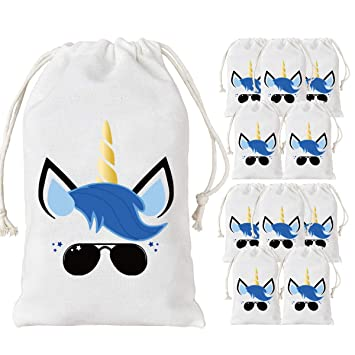 JOYMEMO Unicorn Bags for Boys, 12 Party Favor Bags Cotton Drawstring Bag 5 x 8 inches, Treat Goodie Bag for Unicorn Birthday Party Supplies