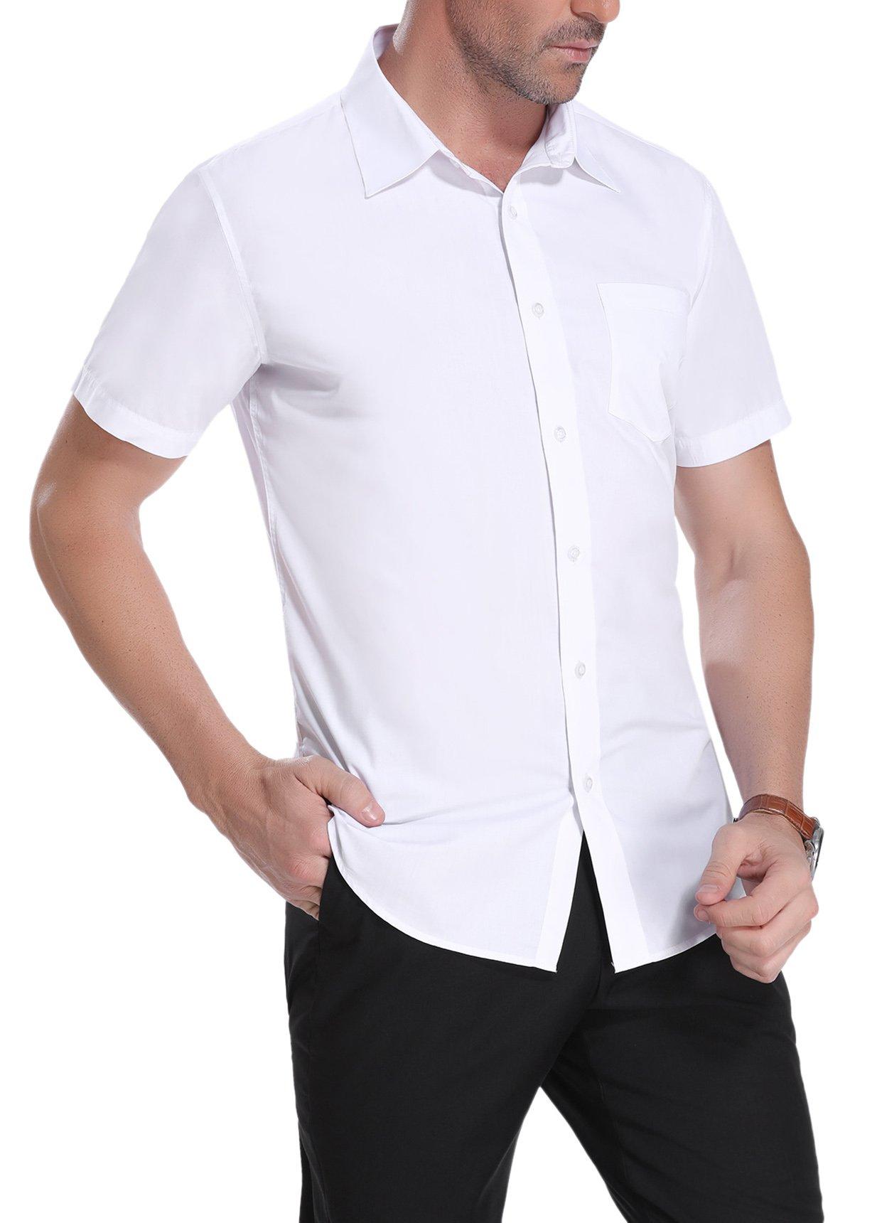 iClosam Men's Casual Short Sleeve Button Down Shirt Collar Dress Shirt