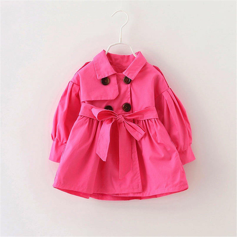 Matterin Christiao 1-8Y Autumn Spring Baby Girl Trench Coat Long Jacket Windbreaker Outwear
