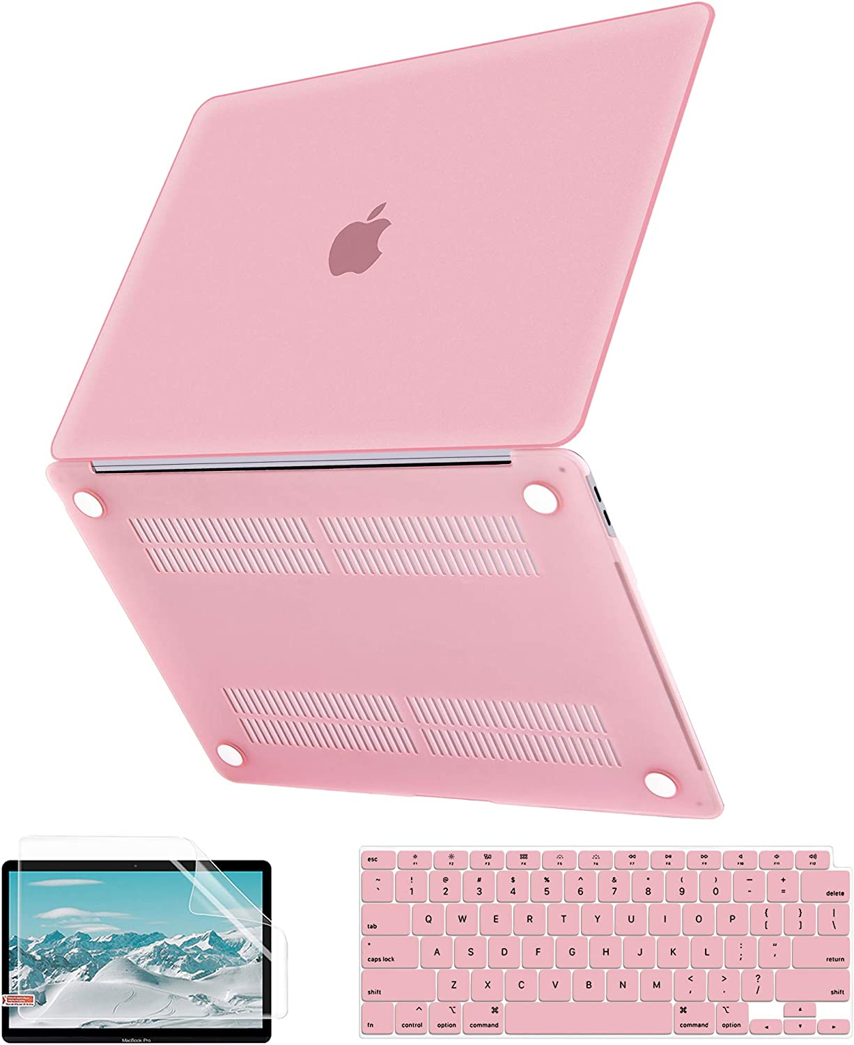 MacBook Air 13 Inch Case 2020 2019 2018 Release A2179 A1932, G JGOO Slim Matte Clear Hard Shell Case + Keyboard Cover + Screen Protector for Apple Mac Air 13.3 with Retina Display & Touch ID, Pink