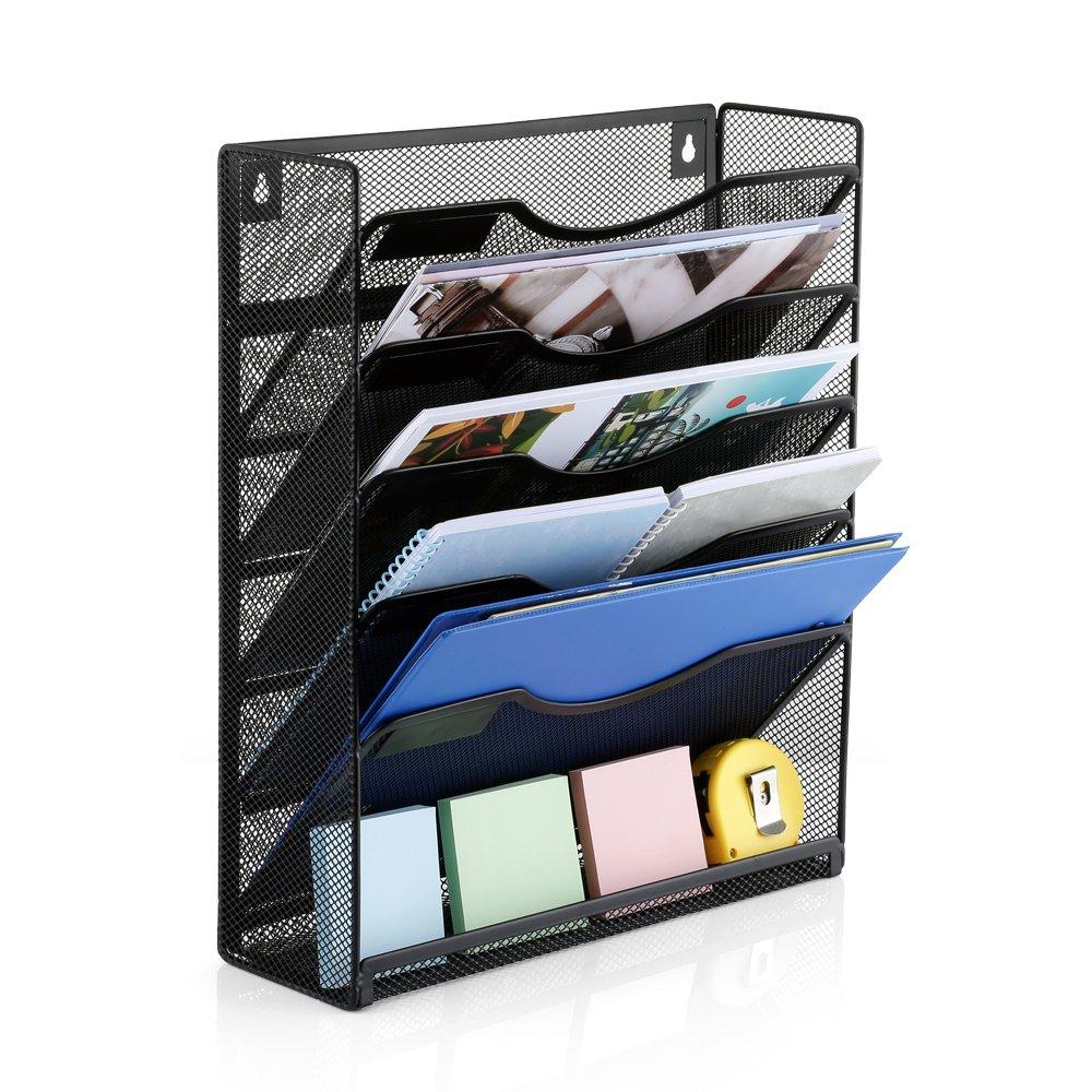 GBTIGER Wall Mounted Desktop File Organizer Holder, 6 Slot Mesh Metal Hanging Wall Document Holder for Home Office, Black