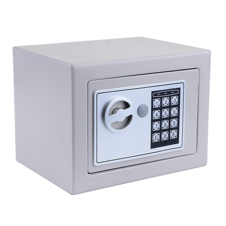 Mymotto - Cassetta di sicurezza/cassaforte elettronica con codice e 2 chiavi, 23 x 17 x 17 cm, bianco