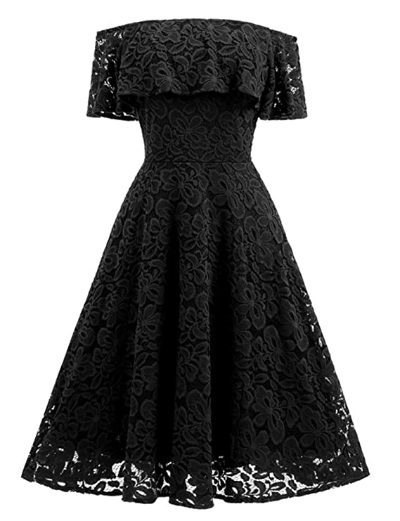 private-space-Aurelie 2018 Summer Sexy Off Shoulder Lace Dress for Women Elegant Slash Neck Short Sleeve Strap at Amazon Womens Clothing store: