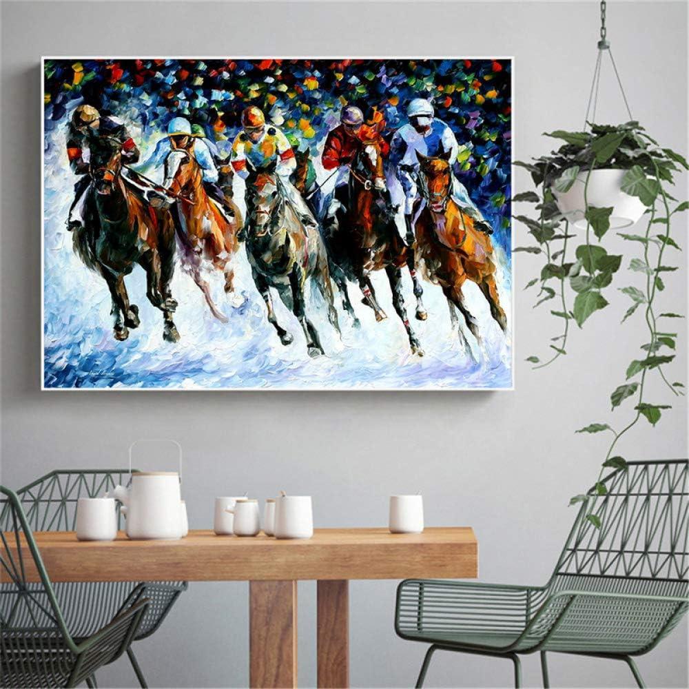 YHZSML Pintura al óleo sobre Lienzo Running Horse Racing Cuadros de Pared para decoración de Sala de Estar Arte Abstracto de Pared Decoración para el hogar Arte de Caballos 40x60 CM Sin Marco