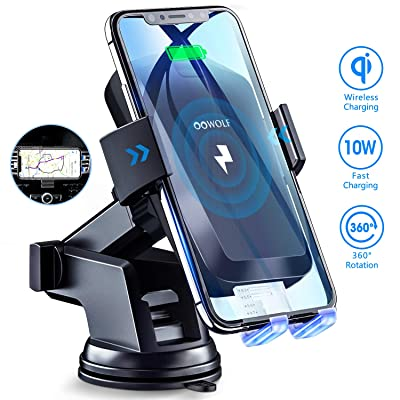 Wireless Car Charger, OOWOLF 10W Automatic Clamping Qi Fast Charging Car Mount Windshield Dashboard Air Vent Phone Holder for iPhone 11 11pro Xs Max XR X 8 Plus, Samsung Galaxy S10 S9 S10+ S8 Note: Home Audio & Theater