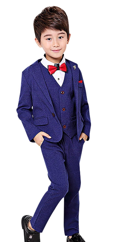 bc101e931 Amazon.com: Boy's Tuxedo Suit Set 3 Pcs Formal Lapel Dress Formal Suit Set  Jacket Vest Pants 2t-12Y: Clothing