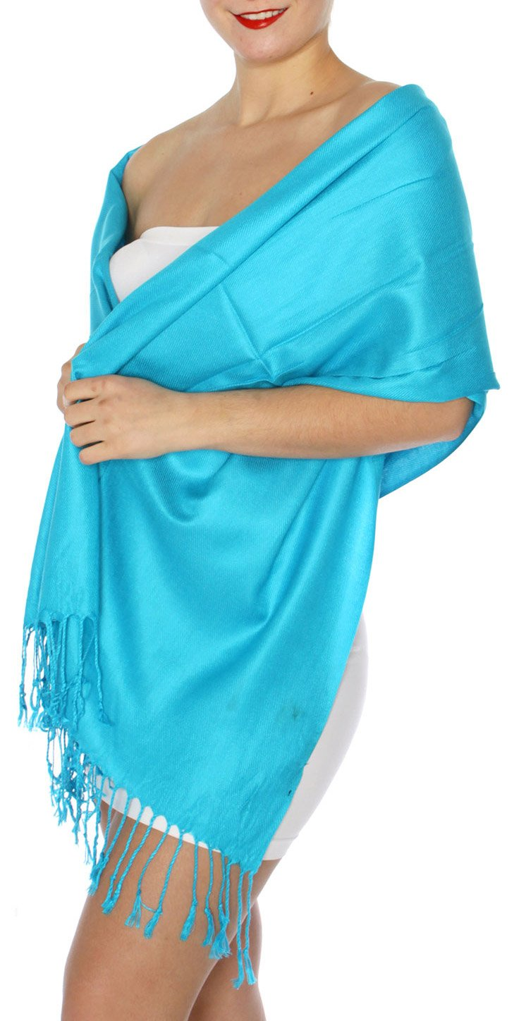 SERENITA Women's Silky Solid Pashmina Style 34 Turquoise, One Size