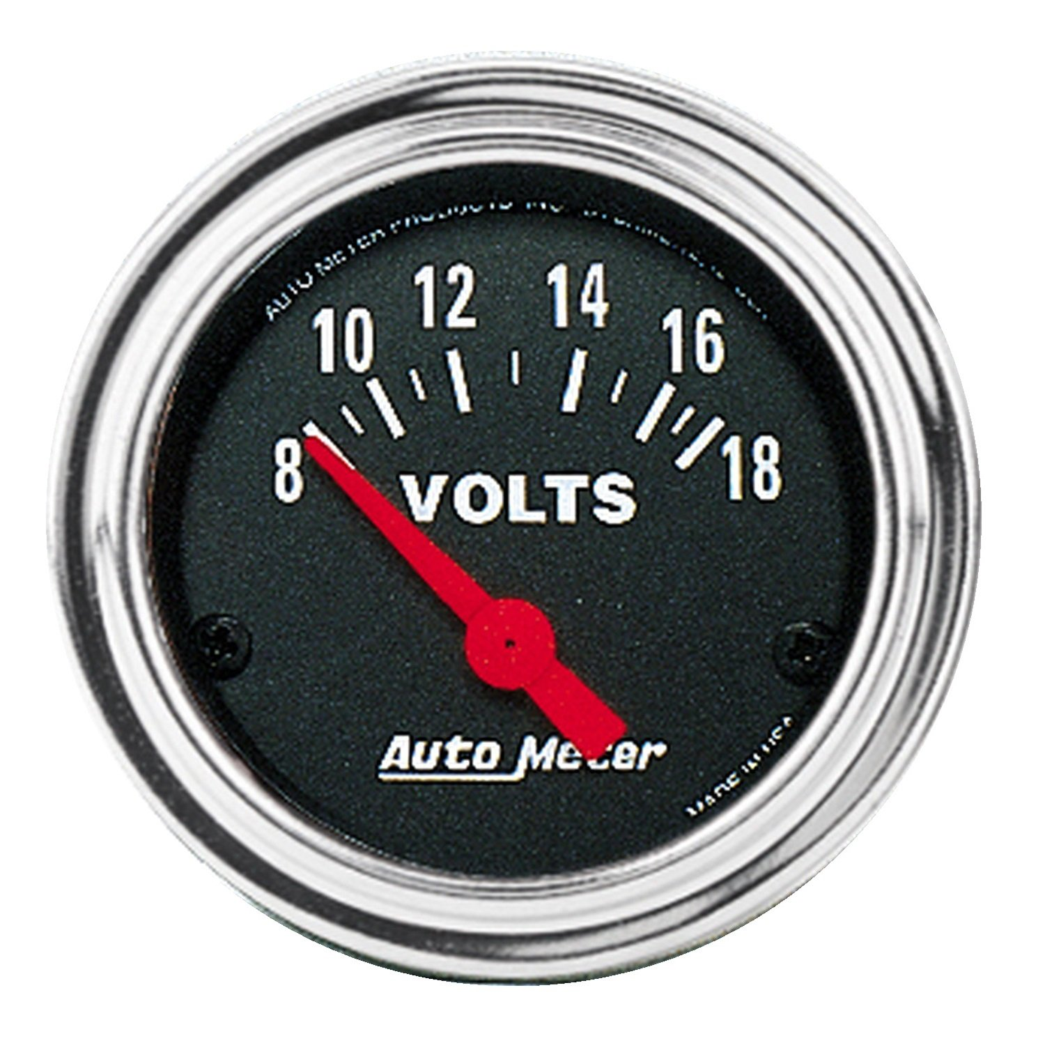 Auto Meter 2592 Traditional Chrome 2-1/16' 8-18 Volt Short Sweep Electric Voltmeter