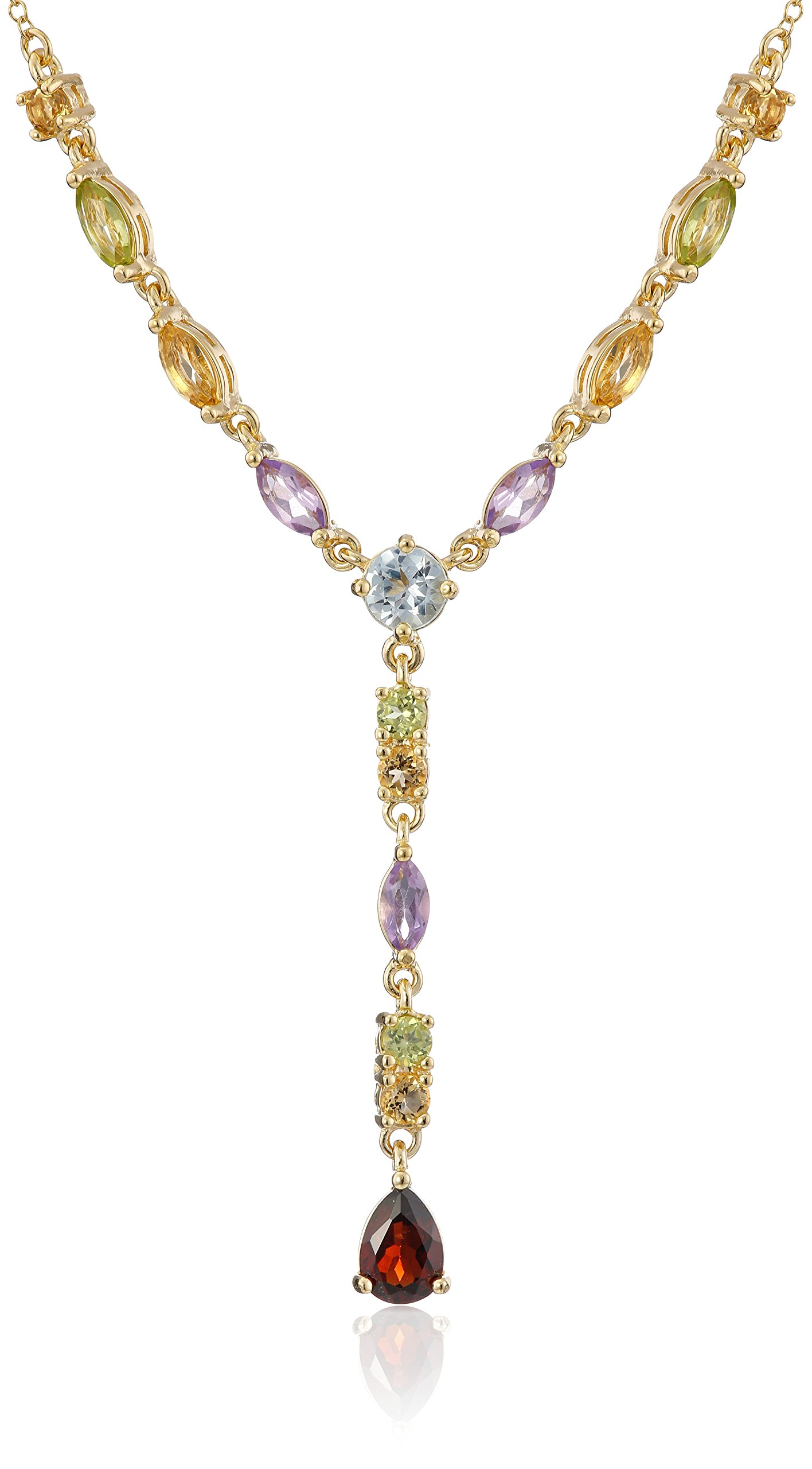 18k Yellow Gold Plated Sterling Silver Genuine Multi Gemstone Y-Necklace, 17''