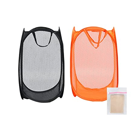 0901206ef4d5 CNDT Pop-Up Laundry Hamper(2 Pack), Clothes & Toy Storage, Foldable and  Portable, with 1 Laundry Bag, Black and Orange