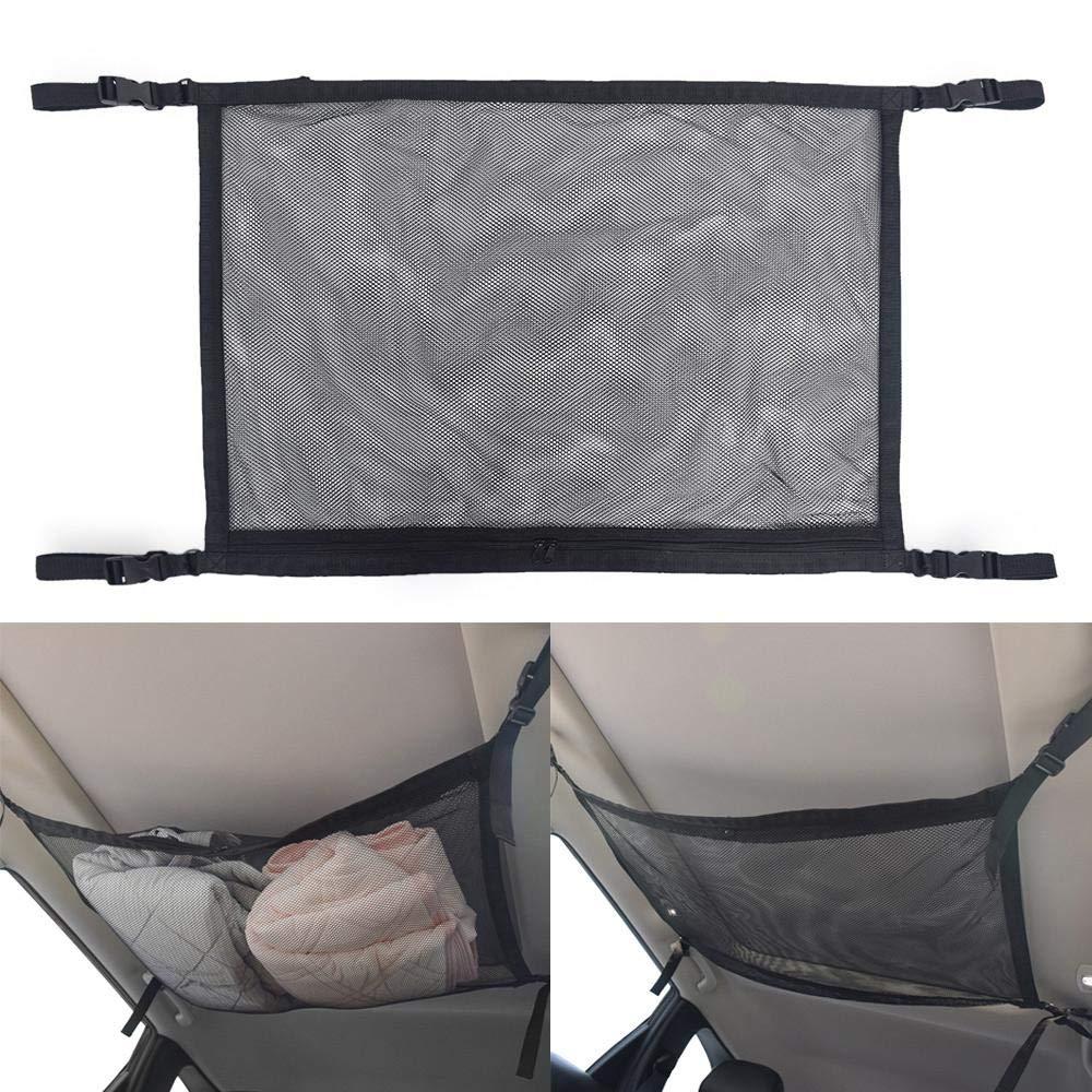 Hamkaw Universal Car Ceiling Storage Net Tasche Einfache Atmungsaktive Mesh-Rei/ßverschluss Aufbewahrungstasche Einstellbare Kleinigkeiten Aufbewahrungstasche F/ür Jeep SUV Auto