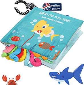 Baby Shark Cloth Book Soft Baby Activity Books,Tails book,Sea Animal Fish Fabric Crinkle Books Toys for Early Education For Babies,Toddlers, Infants,Kids With Teether Ring,Teething Book Baby Octopus
