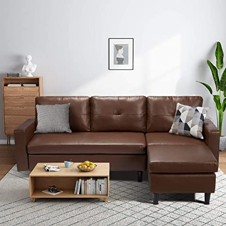 Amazon Com Esright Small Sectional Sofa Couch Faux Leather Sectional Sofa For Living Room L Shape Couch With Chaise Lounge Small Couch For Small Space Dark Brown Kitchen Dining