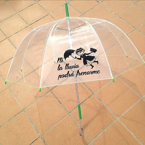 """Paraguas transparente con frase: """"Ni la lluvia podrá frenarme"""" ..."""
