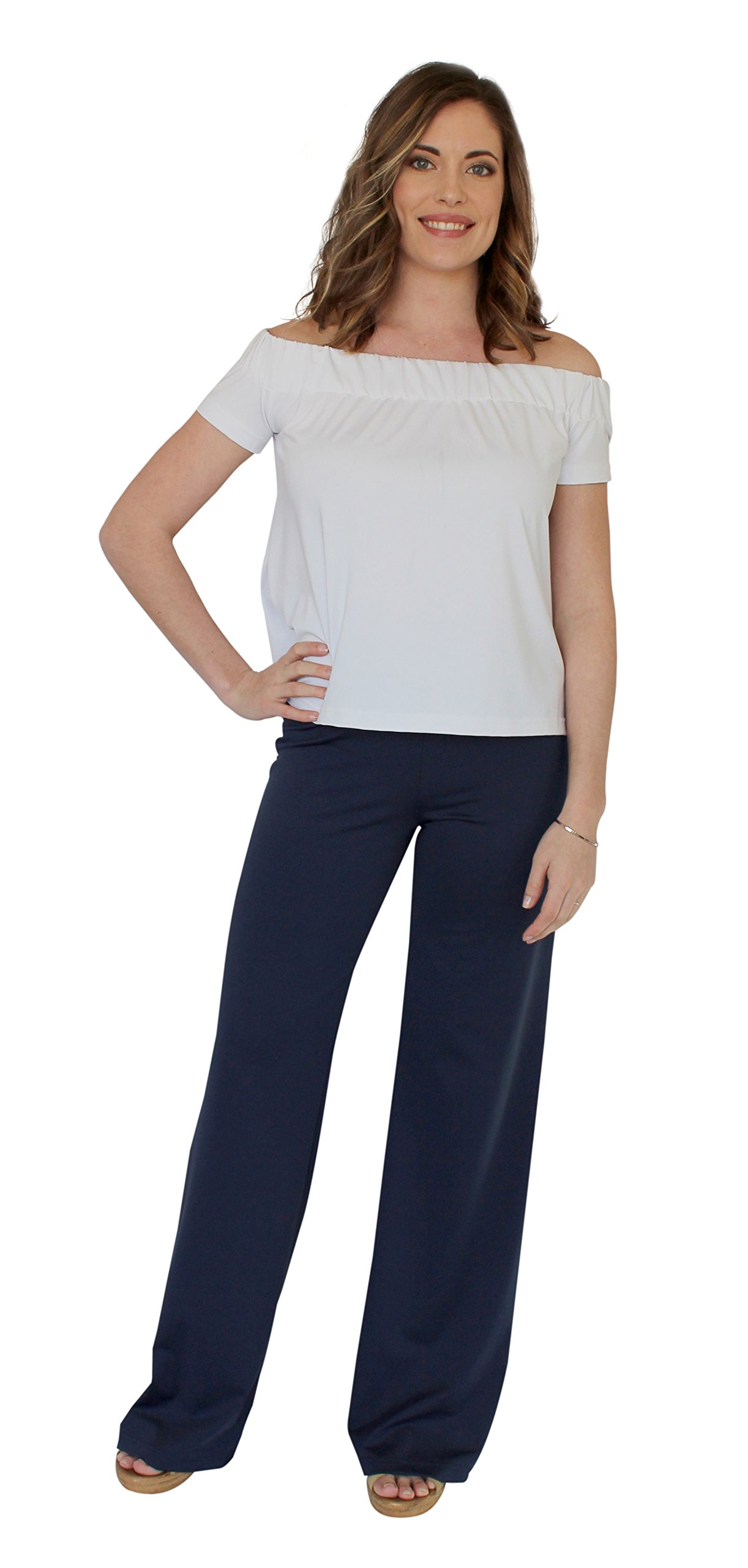 Tucker Wide Leg Palazzo Pant in Navy (XL)