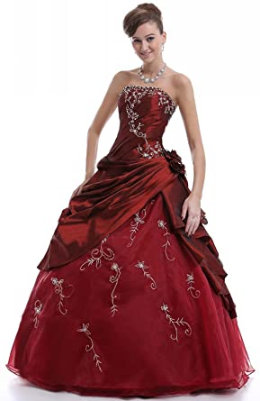 Faironly M37 Strapless Formal Party Prom Dress Ball Gown (XS, Burgundy)