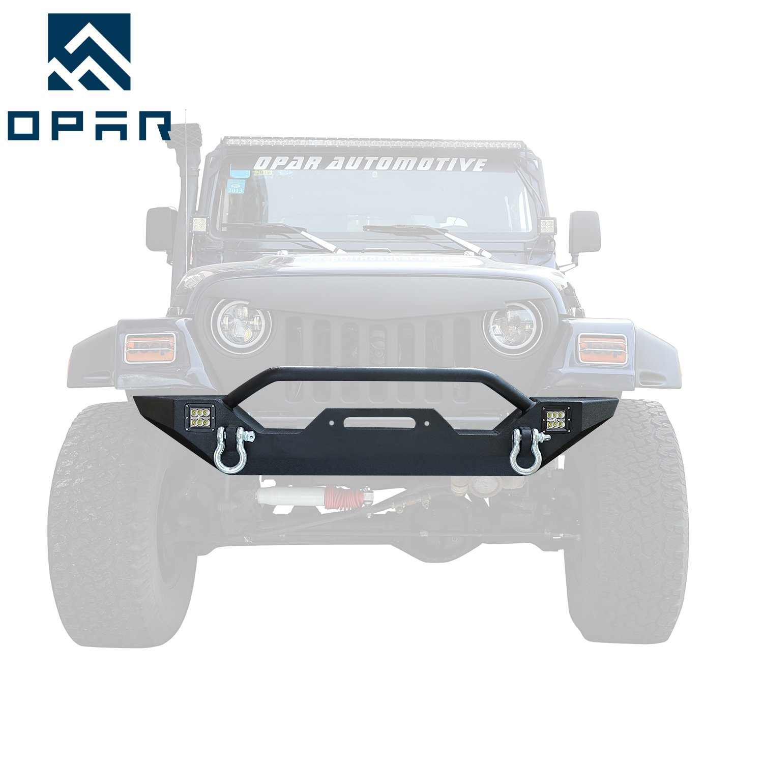 Opar 1987-2006 Jeep Wrangler Different Trail Front Bumper w/ 2x 18W LED Accent Lights for Wrangler YJ,TJ & Unlimited by opar