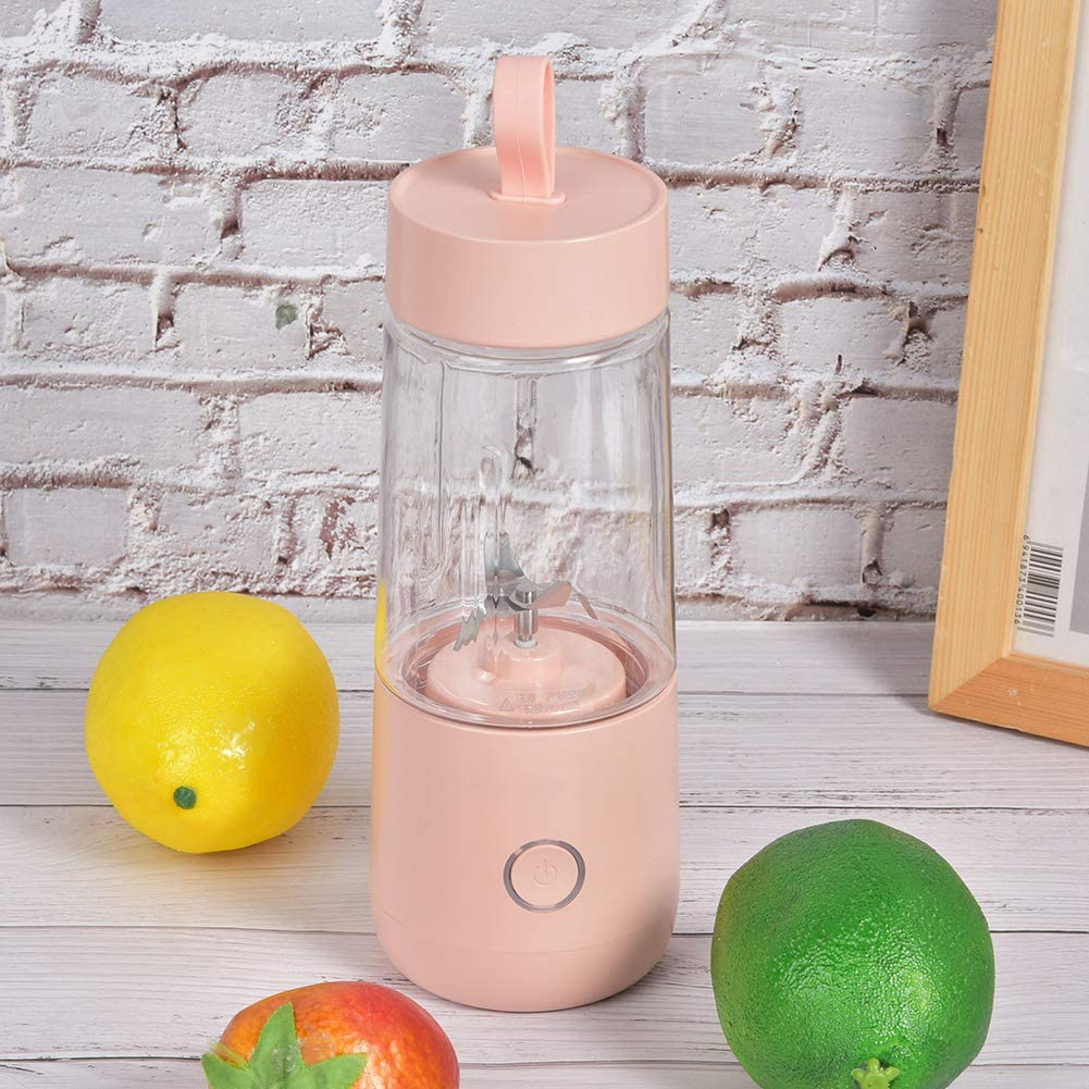 350 ml Mini Handheld Obstmaschine Saftbecher, Safthersteller, Home Office für Eis für Babynahrung(white) Pink