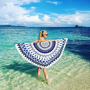 Toalla de playa manta con flecos (diámetro 150 cm Indian Mandala tamaño grande de microfibra redondo ...