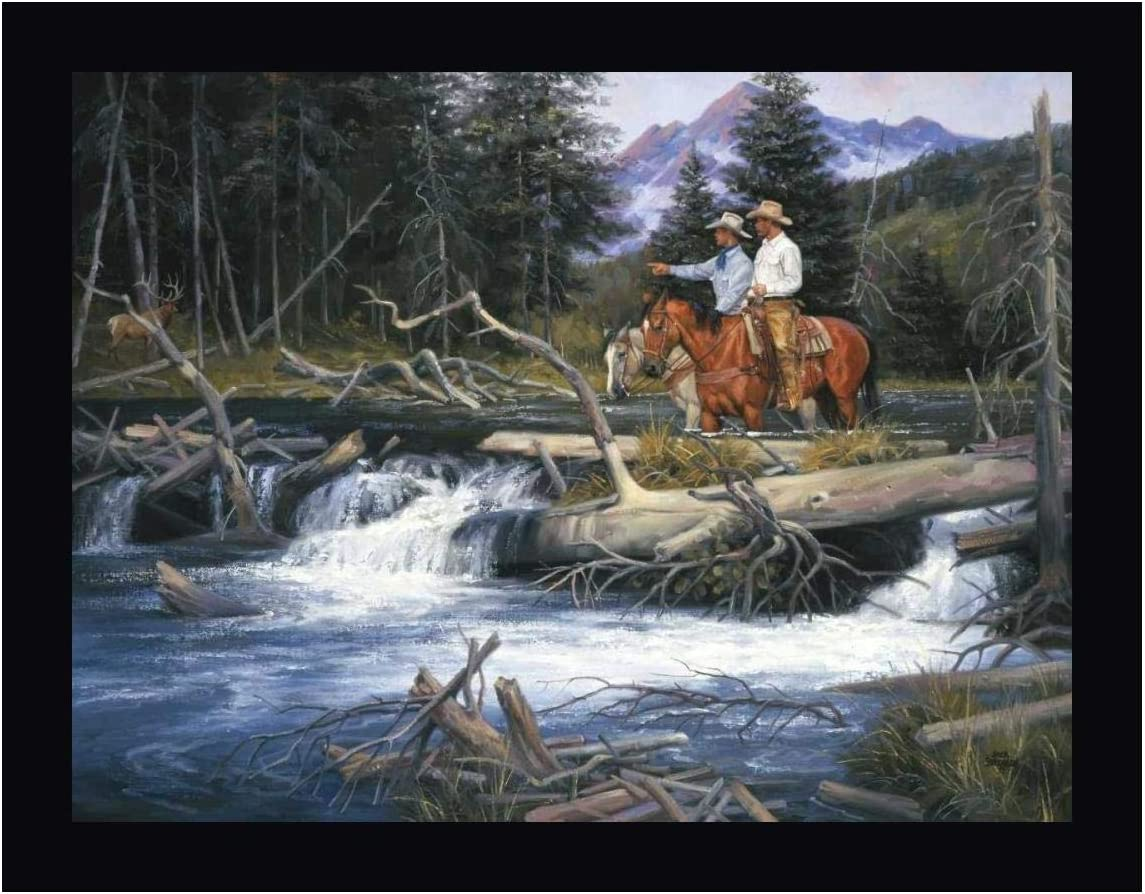 """Bend of The River by Jack Sorenson - 28"""" x 36"""" Black Framed Canvas Art Print - Ready to Hang"""