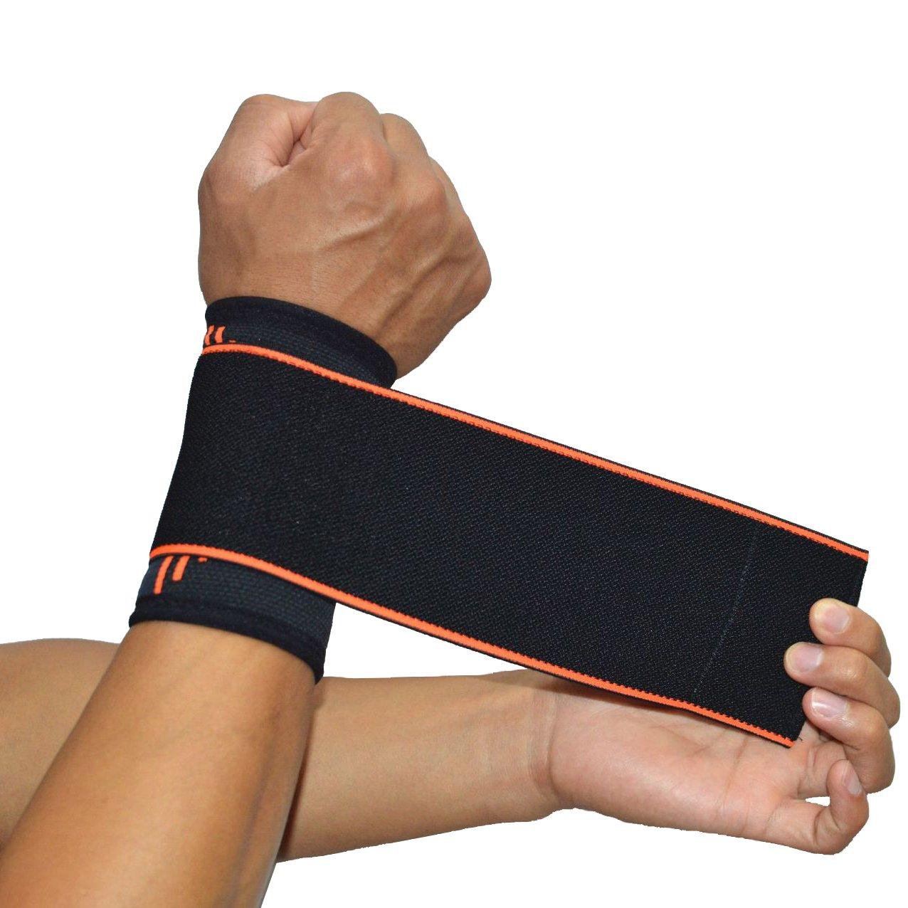 1paire Bracelets de compression support de poignet Wrap Sangle pour le sport Dead Lift d'haltérophilie haltérophilie Gym d'arthrite bodybuilding