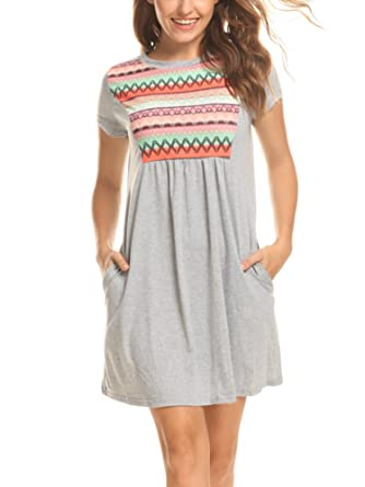 Plus Size Summer Dress Loose Short Sleeve Pink Grey Dress S 5xl At