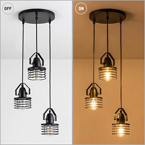 LBTSMUK Black 3-Light Cage Pendant Light, Rustic Industrial Ceiling Hanging Light Fixture Chandelier Metal Hanging Kitchen Farmhouse Lighting Fixture