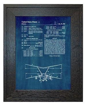 Tandem Wing Airplane Patent Art Midnight Blue Print in a Rustic Oak Wood Frame (20