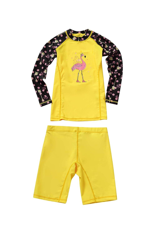 Maniche Lunghe Nuoto Abbigliamento Protezione Solare UV Costume da Bagno per Bambina Ragazze