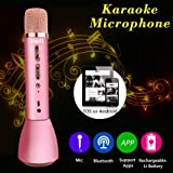 HooYL Wireless Bluetooth Microphone Portable Karaoke Player Singing Record Compatible with Apple iPhone Android Smartphone PC iPad for Music Playing,Singing (RoseGold)