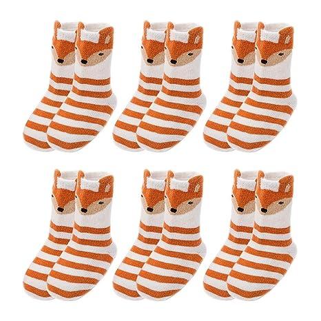 Scrox 6Pars Calcetines de bebé Recién Nacido niña 2 años Lindo Dibujos Animados Animal Espesar Socks