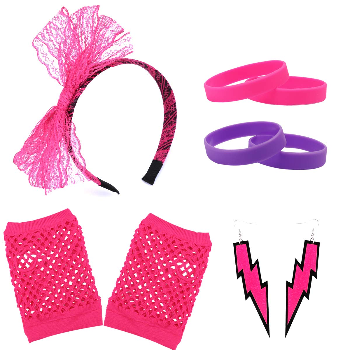 Ondder Women/'s 80s Costume Accessories Lace Headband Neon Earrings and Fishnet