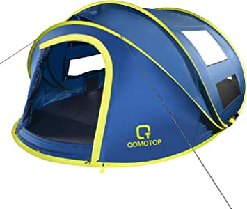 OT QOMOTOP Pop Up Tent, 4 Person 10-Second Instant Tent, Waterproof and Windproof Easy Set-up Tent, Perfect for Camping Beginners