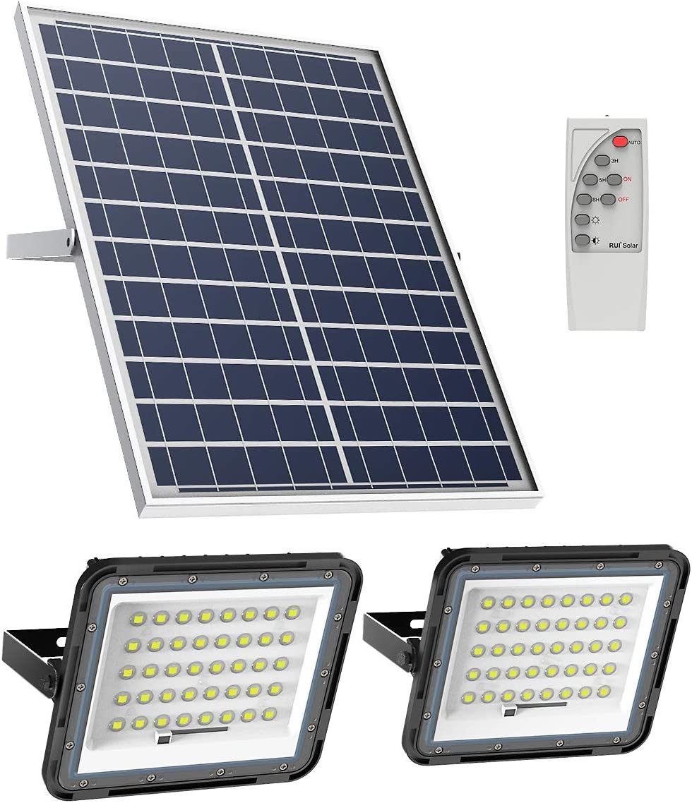 ENGREPO Solar Flood Light Outdoor Auto On/Off Dusk to Dawn with Remote Control 1500LM Dual 80LEDs 6000K Bright White Floodlights Ip65 Waterproof Solar Power Light for Yard, Garden, Shed, Barn.