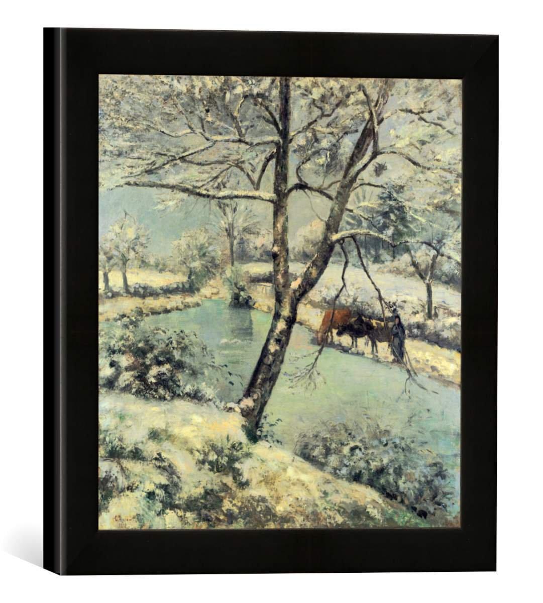 Gerahmtes Bild von Camille Pissarro Winterlandschaft bei Mont-Foucault, Kunstdruck im hochwertigen handgefertigten Bilder-Rahmen, 30x30 cm, Schwarz matt