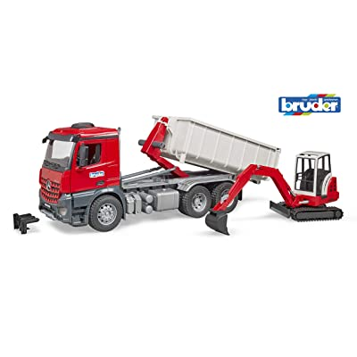 Bruder 03624 Mb Arocs Truck with Roll-Off- Container and Schaeff Mini Excavator: Toys & Games